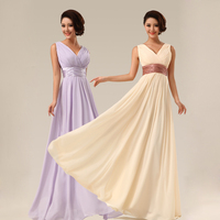 New 2015 Double Shoulder V Neck Simple Solid Long Evening Dress Chiffon Evening Party Dress Drop