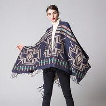 купить Bohemian Women's Autumn Winter Poncho Ethnic Scarf Fashion Print Blanket carves Lady Knit Shawl Tassel Cape Thicken Pashmina 052 по цене 984.69 рублей