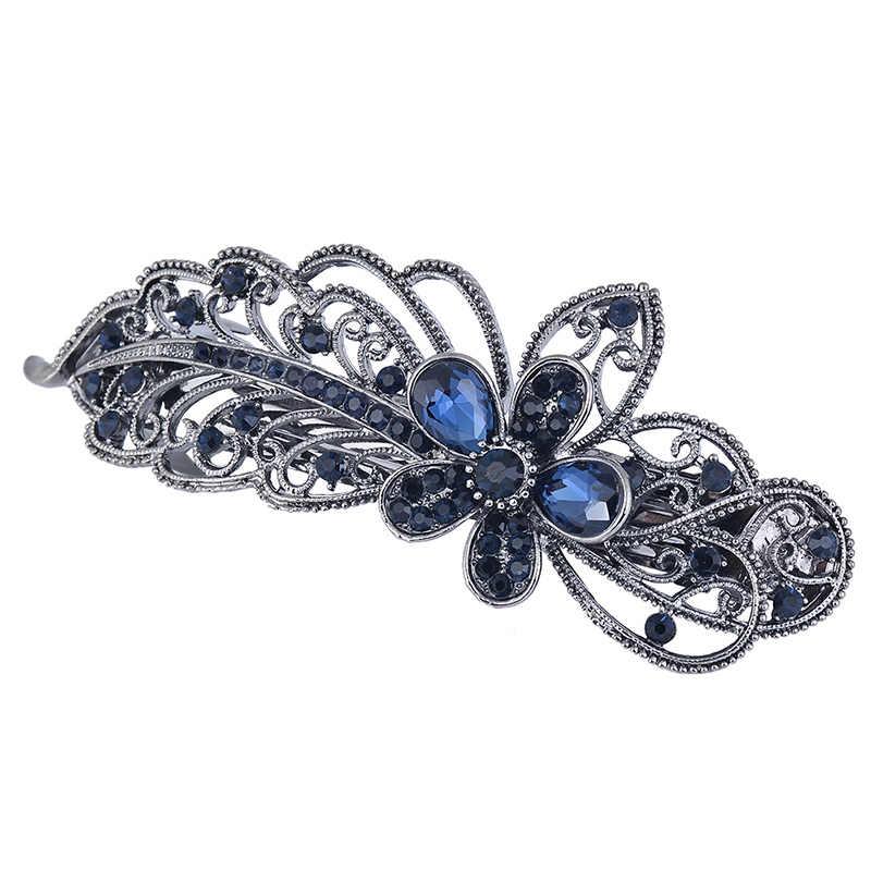Mudah Biru Merak Jepit Rambut Rhinestone Crystal Bunga Daun Rambut Klip Barrettes Vintage Rambut Aksesoris Perhiasan untuk Wanita Gadis