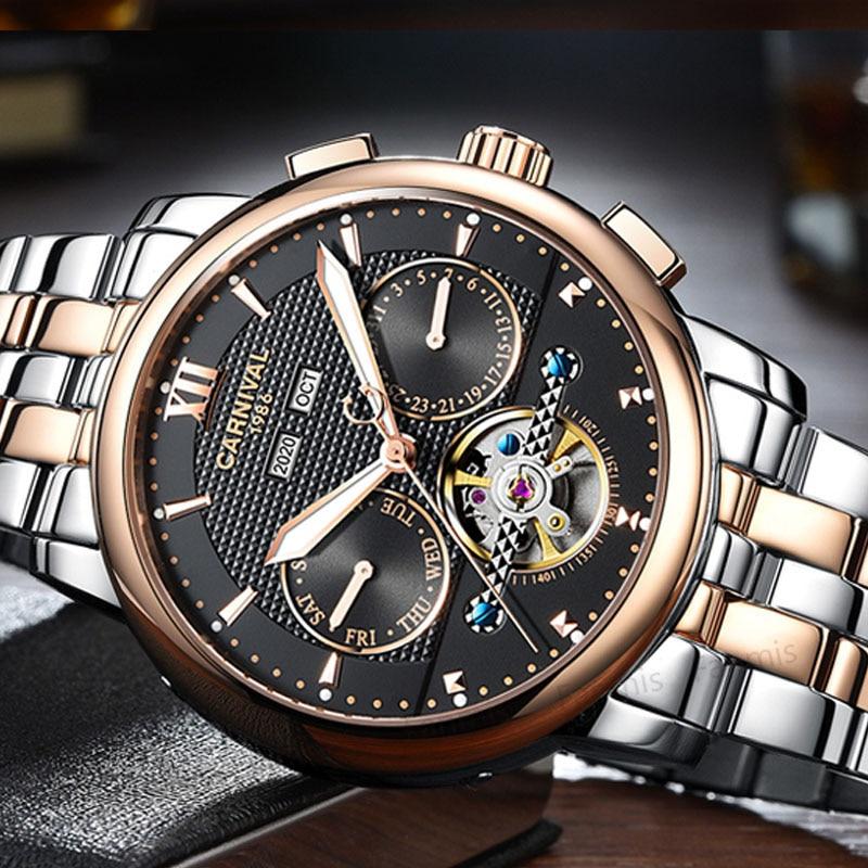 Classic Carnival Hollow Mechanical Watch Men Tourbillon Day-Date Waterproof Luminous Male Business Wristwatch Rose Gold Steel цена и фото