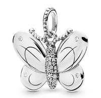 Original 925 Sterling Silver Charm Decorative Butterfly With Crystal Pendant Beads Fit Pandora Bracelet & Necklace Diy Jewelry