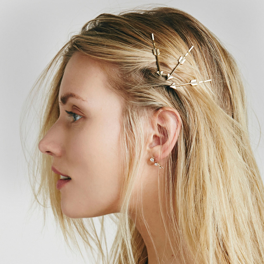 Conscientious Emanco Wholesale Heart Shaped Arrow 4 Pieces One Set Barrettes Ancient Gold Color Zinc Alloy New Arrivals Hair Jewelry Jewelry Sets & More Hair Jewelry