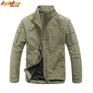 Image 1 - Мужская камуфляжная куртка, ветрозащитная тактическая куртка в стиле милитари, с воротником стойкой, флисовая верхняя одежда