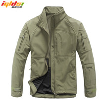 Mens Army Camouflage Military Windcheater Tactical Jacket Hunt Sharkskin Softshell Standcollar Windproof Outerwear Fleece Coats