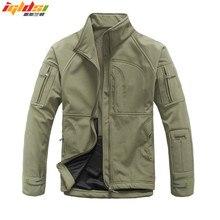남자 육군 위장 군사 Windcheater 전술 재킷 사냥 상어 가죽 Softshell Standcollar Windproof 겉옷 양털 코트