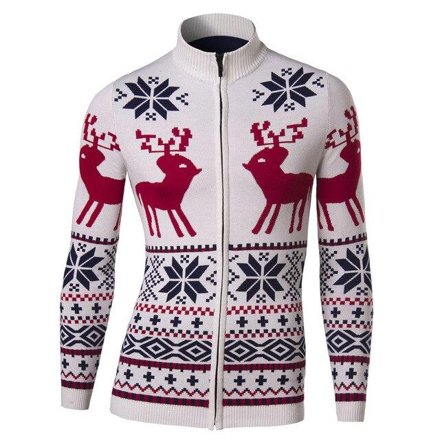 new jacket men spring fashion cardigan design mens slim christmas deer printed sweater jacket casual stylish - Christmas Jacket