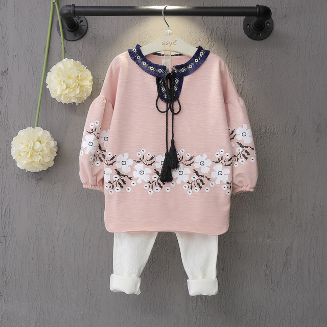 Children's clothing suits fall 2016 han edition girls fleece lantern sleeve + pants two-piece free shipping