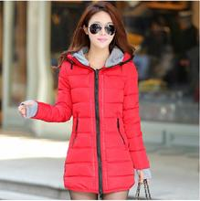 Women s down cotton cold proof slim medium long cotton padded jacket female winter outerwear wadded