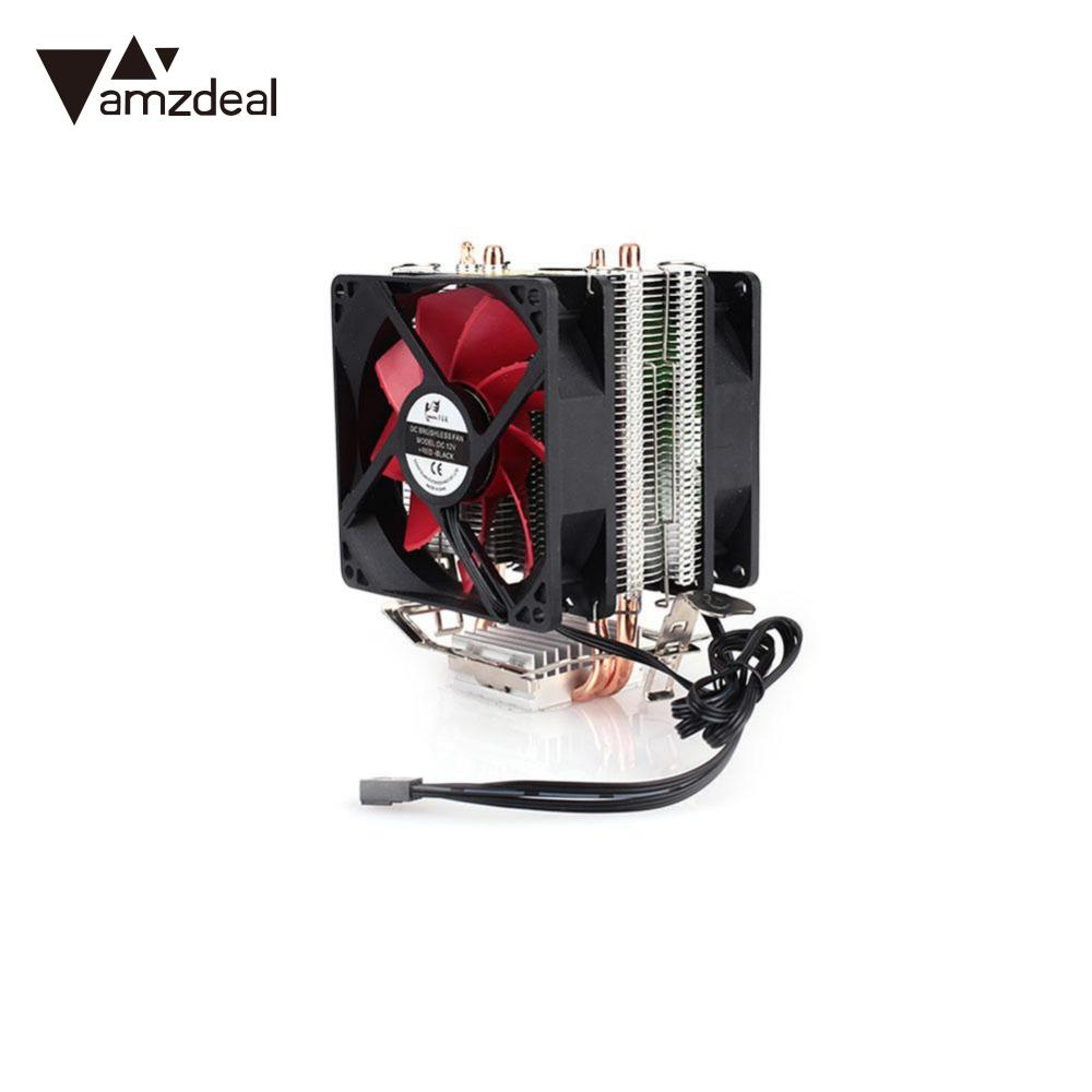 AMZDEAL GTFS CPU Silent Fan Cooling Dual Fan Cooler 2 Heatpipe Radiator CPU Cooler Heatsink Radiator For Intel AMD Computer 120mm 4pin neon led light cpu cooling fan 3 heatpipe cooler aluminum heat sink radiator for inter amd pc computer