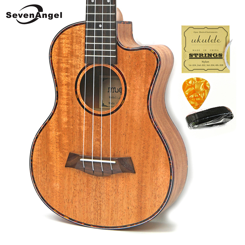 23/26 inch Mahogany Ukulele Hawaiian 4 Strings Mini Travel Guitar Music Instrument Electric Ukulele Pickup EQ Celluloid Binding