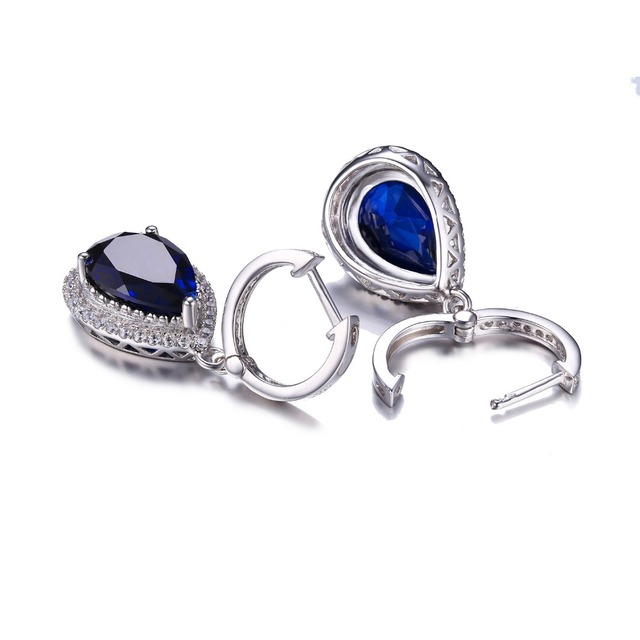 CiNily Authentic. Solid 925 Sterling Silver Created Sapphire Cubic Zirconia Fine Jewelry for Women Wedding Drop Earrings SE036