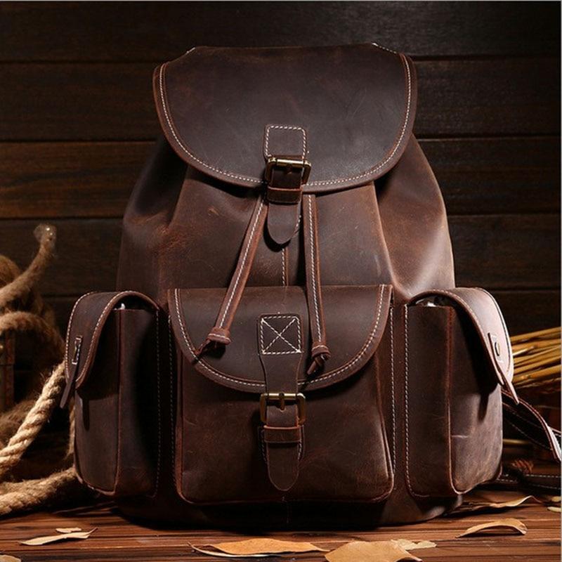 Известные бренды Для Мужчин's Винтаж рюкзак Пояса из натуральной кожи натуральной Ourdoor Путешествия мальчик Повседневное мешок руки большой