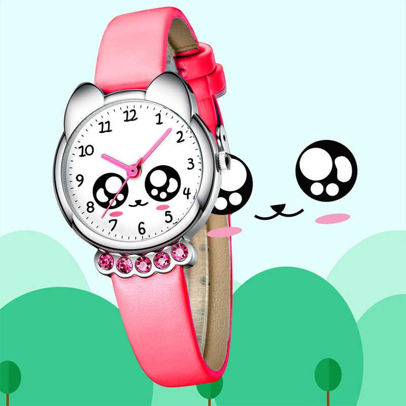 KDM luksusowe zegarek dziewczęcy dzieci śliczne Fox Bling Rhinestone wodoodporny różowy prawdziwej skóry zegarki piękne dzieci zegarek na rękę zegar