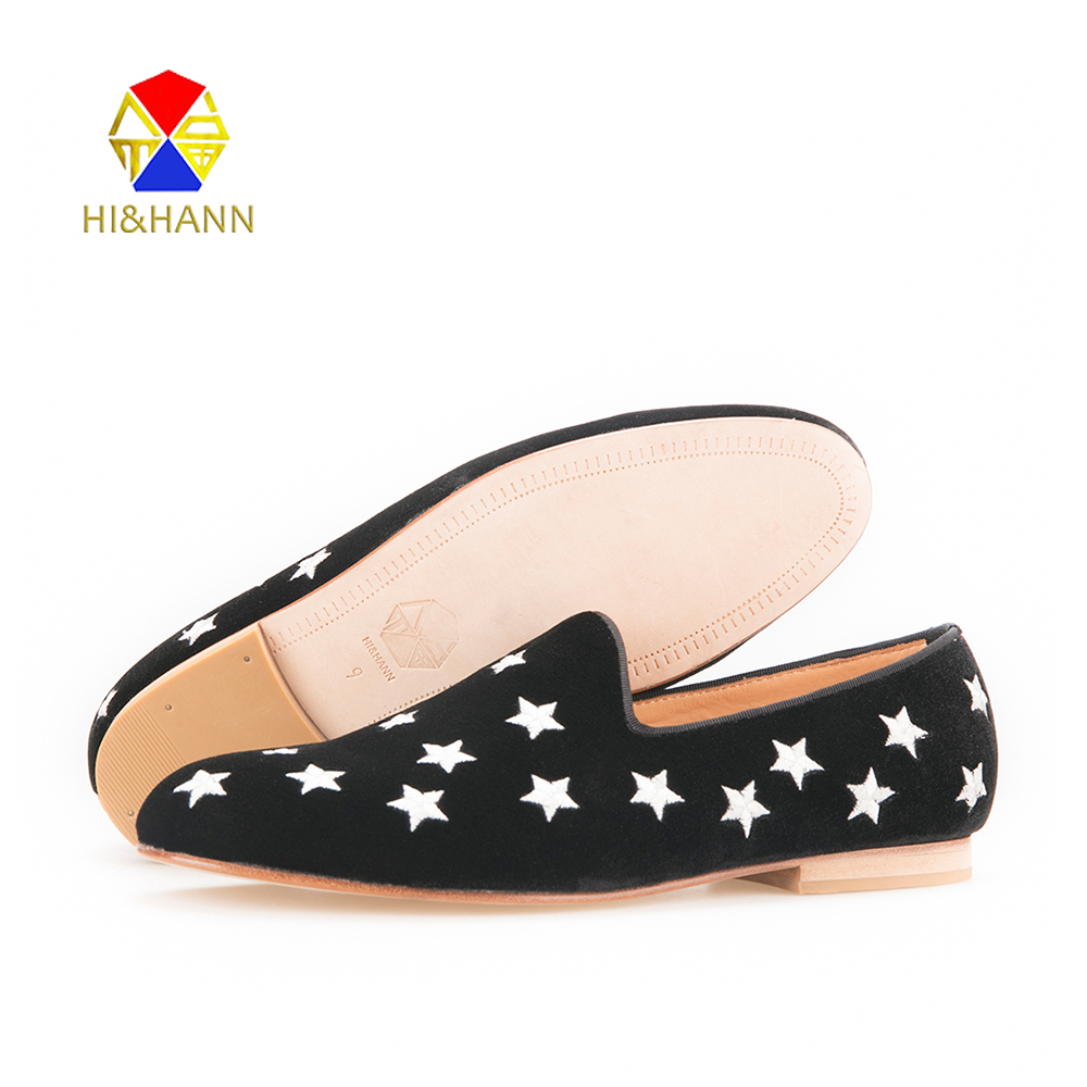 USA BRAND HI&HANN MENS BLACK VELVET SLIPPER WITH SILVER STAR EMBROIDERY AND LEATHER OUTSOLE FASHION PARTY AND WEDDING LOAFERS