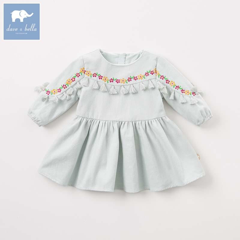 все цены на DBA7937 dave bella autumn Princess baby dresses girls Lolita with tassel dress children long sleeve high quality dress