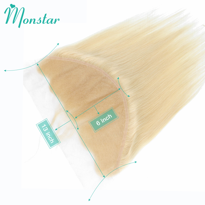 Monstar 613 Blonde 13x6 Lace Frontal Closure Peruvian Remy Human Hair Straight Swiss Lace Frontal With Baby Hair Free Shipping