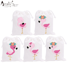 Flamingo Theme Party Favor Flower Bags Candy Bags H