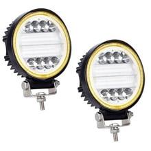 OKEEN 4 นิ้ว 120 วัตต์ทำงาน LED Light Bar Combo Offroad 4x4 หมอกดวงตาแองเจิลสีเหลืองสีขาวไฟขับรถสำหรับรถบรรทุก