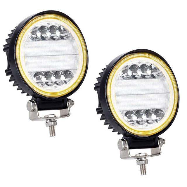 OKEEN Barra de luz LED de obra de 4 pulgadas y 120W, Combo de luces antiniebla 4x4 con ojos de Ángel, luz de conducción amarilla y blanca para camión