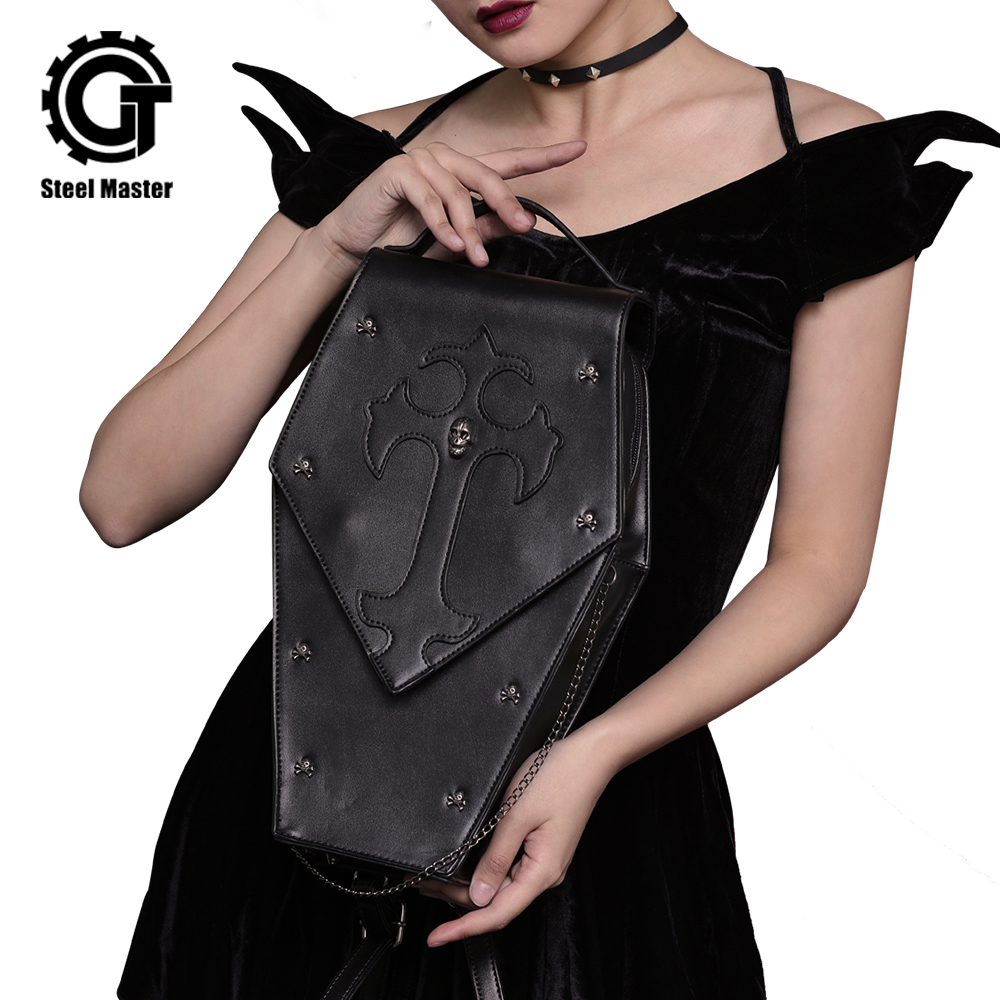 Steampunk Shoulder Bags Personality Gothic Punk Vintage Women Messenger Bags Fashion Female Leisure PU Leather Cross