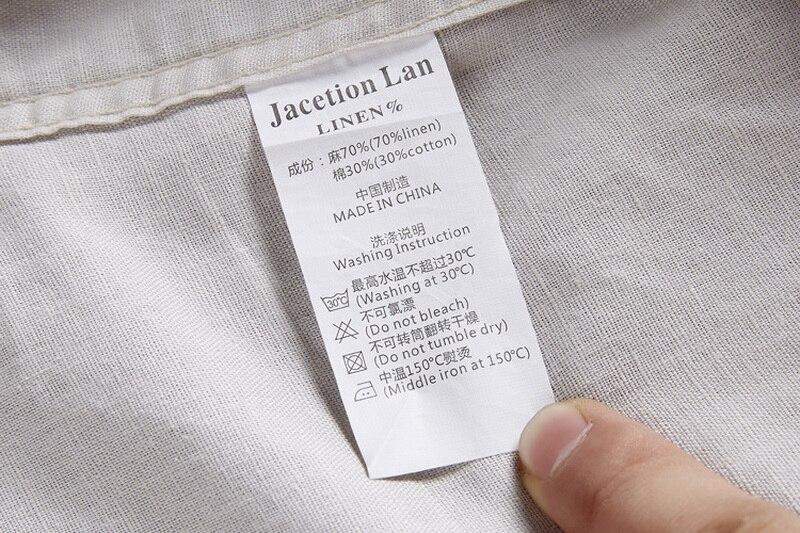 Neue Art Cotton + Linen Shirt Men Slim Fit Langarm Herrenhemd Leinen - Herrenbekleidung - Foto 4