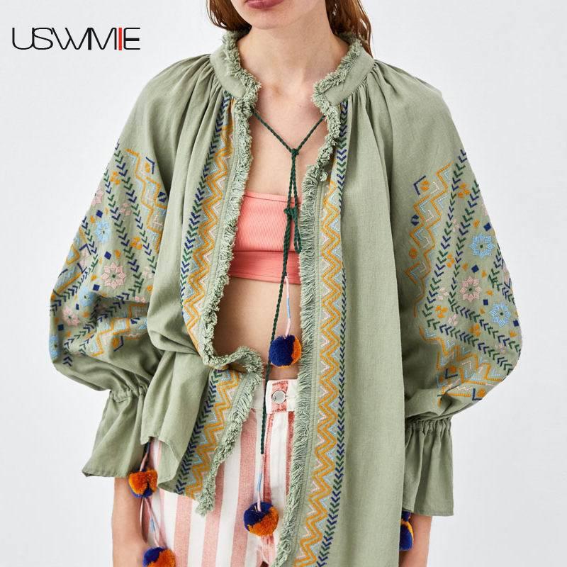 The Couleur Longues Broderie Solide 2018 Tops Nouvelle Blouses Mode O Chemise Vert As Femmes Automne Photo À cou Loisirs Uswmie Confort Clair Manches 1qFwZPxZ