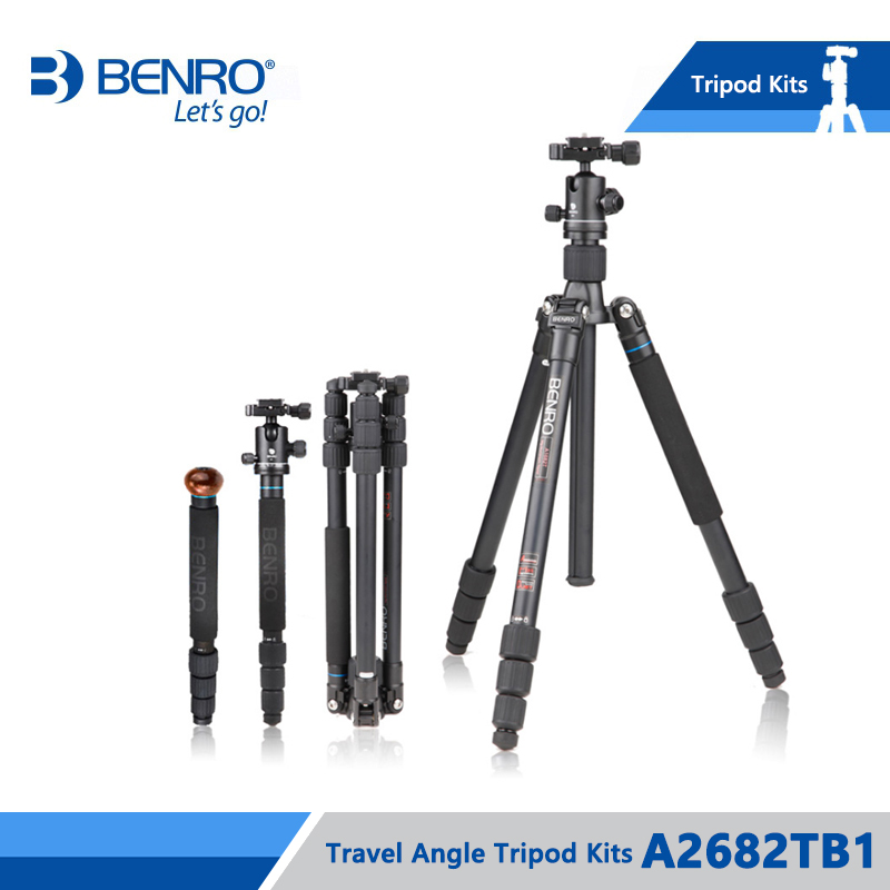 BENRO A2682TB1 Magnesium Alloy Tripod With B1 Ballhead Professional Monopod 4 Section+ Carrying Bag Kit, Max load Free Shipping
