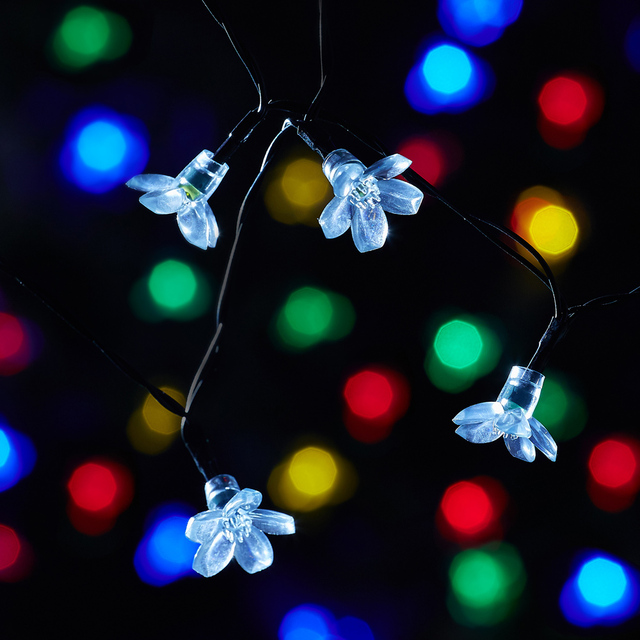 solar powered led garland string lights 7m 50leds garden luces solare light flower shaped christmas light