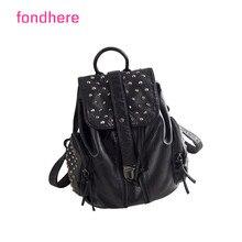Fondhere 2017 Новая мода заклепки сумки женщины стиль кожа сумка досуг сумки для девочек