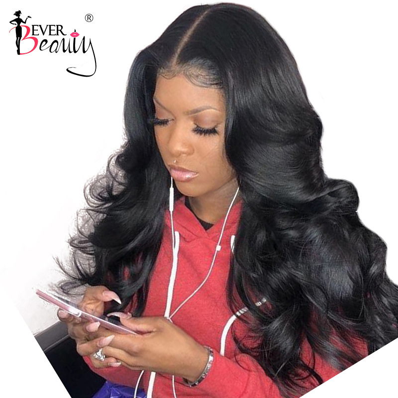 """250 Density Body Wave Silk Base Full Lace Human Hair Wigs Glueless 10-32"""" Pre Plucked With Baby Hair Brazilian Ever Beauty Remy"""
