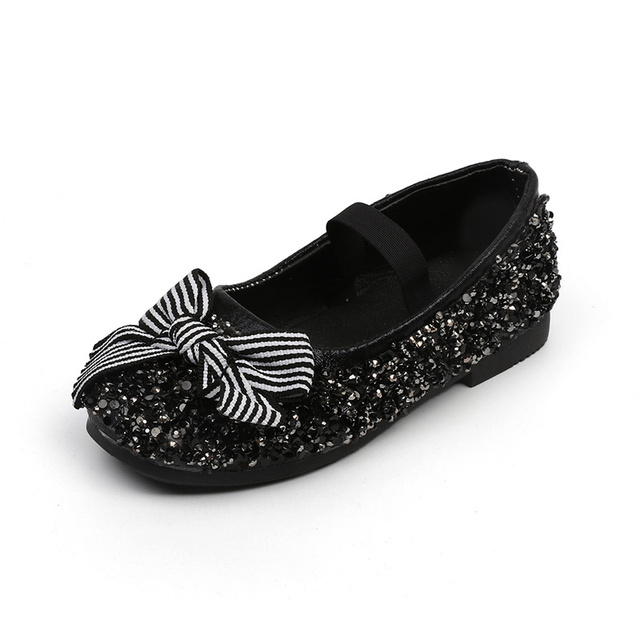JGVIKOTO Autumn New Girls Shoes Princess Elegant With Rhinestone Cotton Bow- knot Sweet Kids Loafers Black Party Girl Dress Shoes 53588781c013