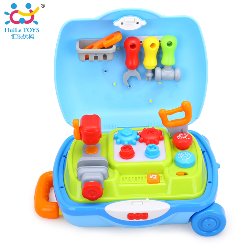 HUILE TOYS 3106 Baby Toys Engineering Carry Along Toolbox with Wheels Kids Pretend Play Tool Set Toys for Children 2-4 years pretend and play doctor set little doctor kids baby toddler children junior doctor nurses medical set kit role play toy