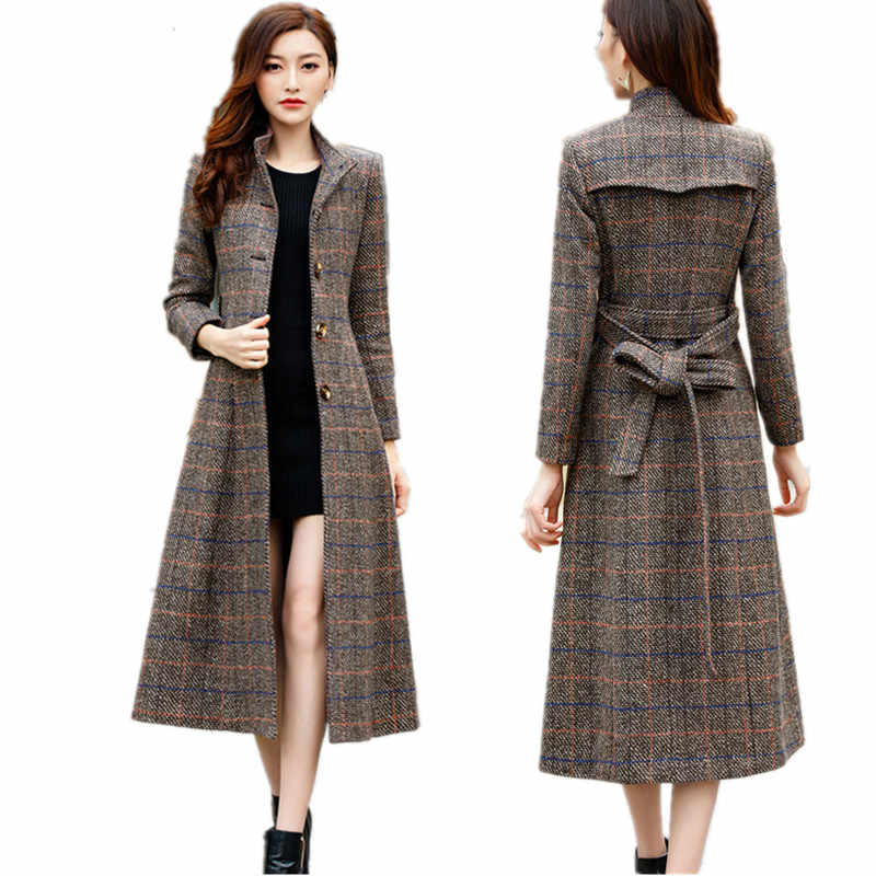 Woolen coat women high quality Classic Long wool coats Women's winter outerwear plaid womans coats Korean fashion clothing B4183