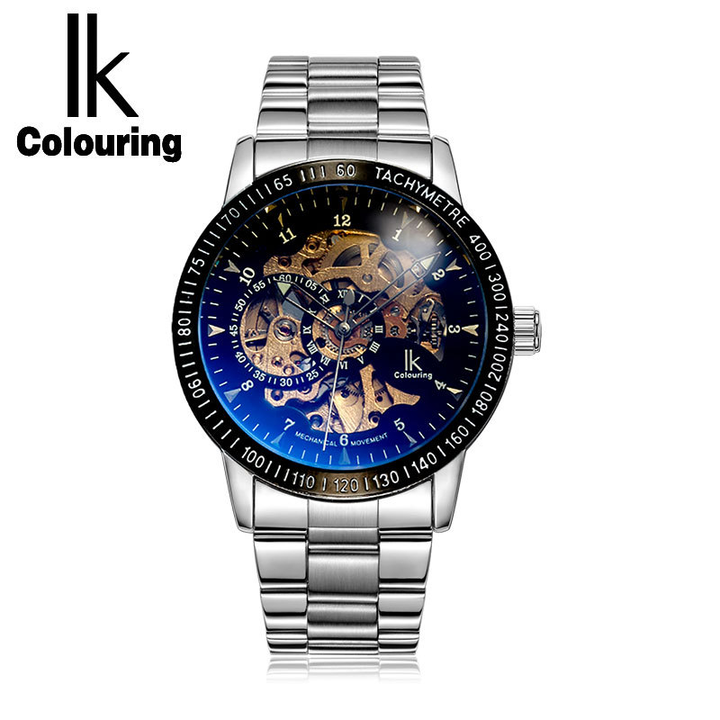 IK Coloring Automatic Mechanical Watches Full Stainless Steel Men Waterproof Skeleton Watch High Quality Mans Watch coloring of trees
