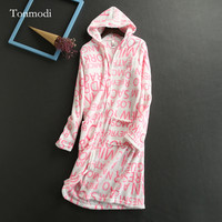 Robes Women Coral Fleece Zipper Robe With A Hood Robe Nightgown Women
