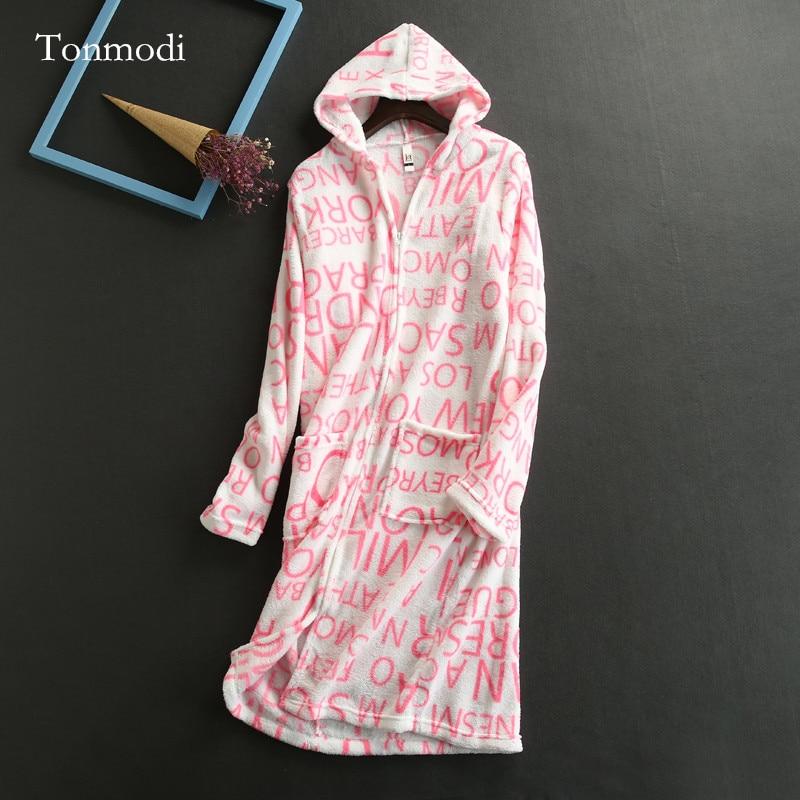 Robes Women Coral Fleece Zipper Robe With A Hood Robe Nightgown Women