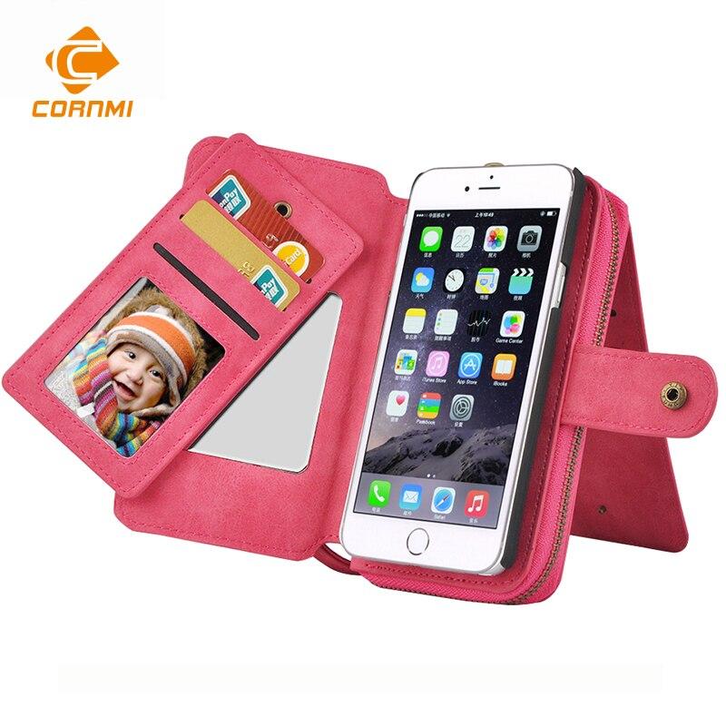 bilder für CORNMI Brieftasche Telefonkasten Für iPhone 7 Abdeckung 7 S PU Leder Spiegel Beutel Shell Multifunktions Holster Mit Kartentasche tasche