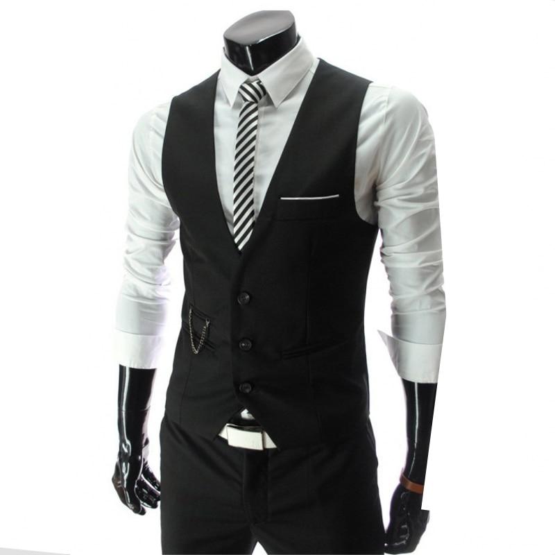 Left ROM 2019 New Men's Fashion Boutique Pure Color Slim Wedding Dress Suit Vest / Men High-end Business Suit Vest Men Waistcoat