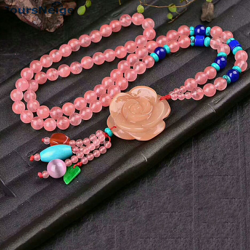 Wholesale Natural Crystal Necklace Hand Carved Flower Pendant Beads Sweater Chain Necklace Lucky for Women Help Wealth Jewelry hope anthony sport royal and other stories