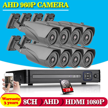 NINIVISION HD 2500TVL full 8CH 1080N surveillance System AHD DVR KIT CCTV video recorder with 1.3MP home security system+1TB HDD