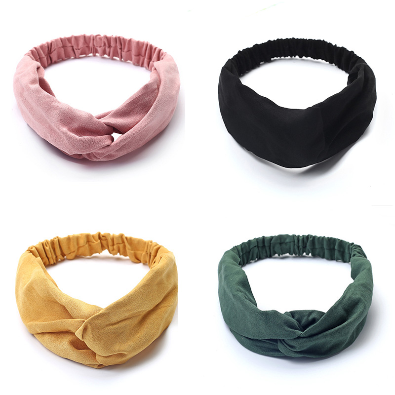 Women Turban Suede Soft Solid Headbands Vintage Cross Knotted Elastic Hair bands Bandanas Girls HairBands Hair Accessories