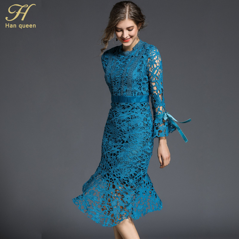 H han queen 2018 Spring Trumpet / Mermaid Lace Dress Fashion Asymmetrical Vintage Party Slim Sexy Vestidos Women Dresses-in Dresses from Women's Clothing on AliExpress - 11.11_Double 11_Singles' Day 1