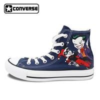 Joker Harley Quinn Design Custom Hand Painted Shoes Women Men Blue Converse Shoes All Star High Top Sneakers Skateboarding Shoes