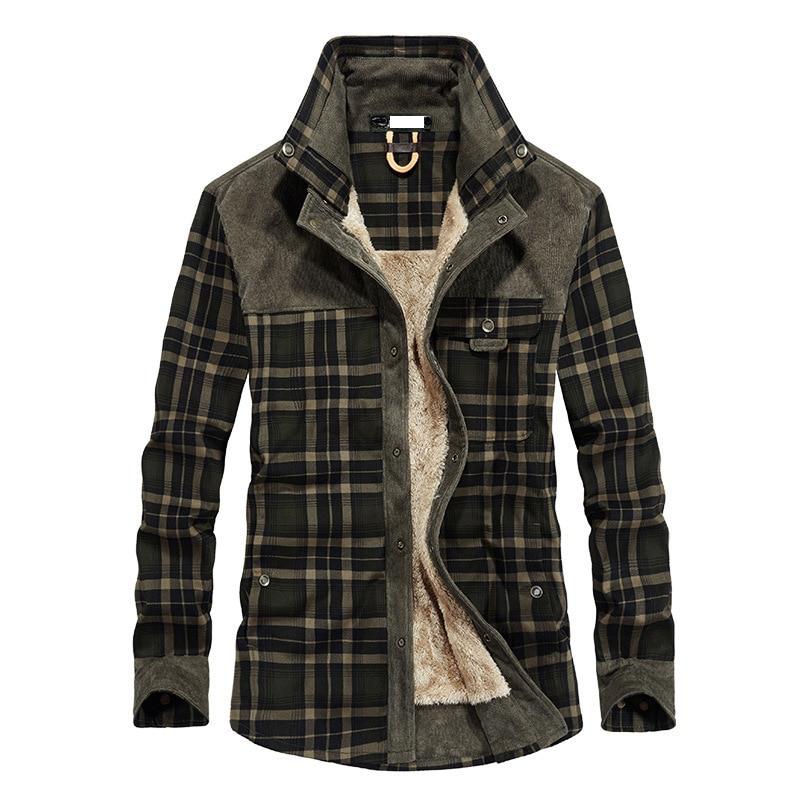 Coton hommes chemises décontractées automne vêtements de sortie d'hiver Plaid épais laine doublure nouvelle mode chaud chemise vêtements pour hommes M-3XL MY001