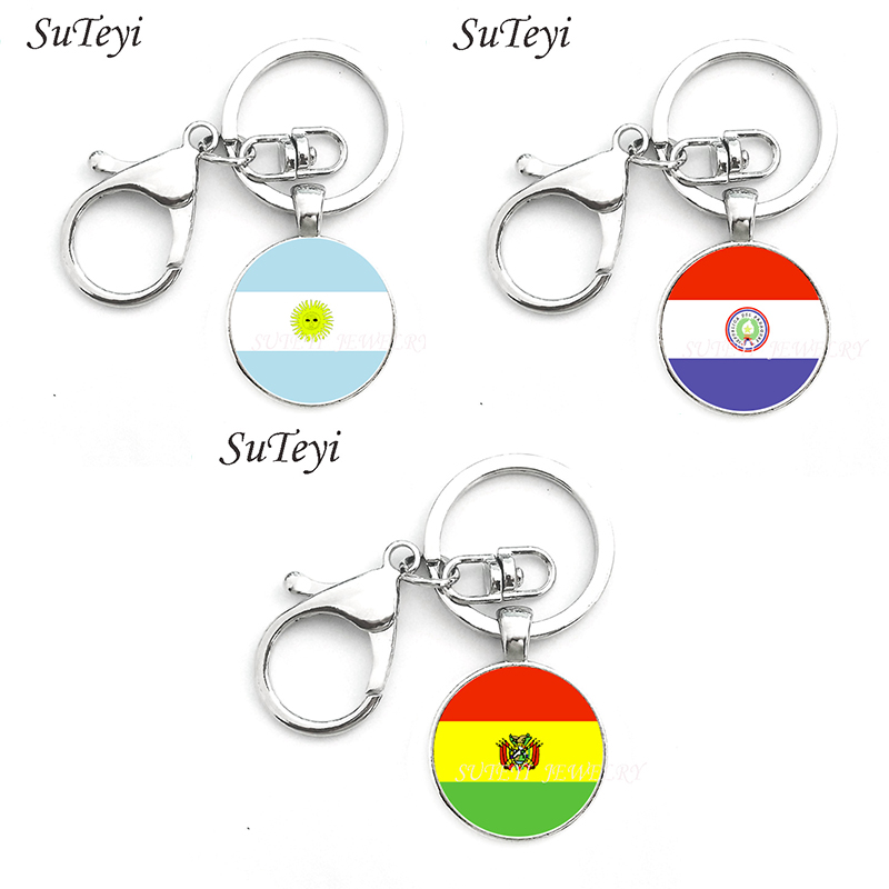 Vintage national symbolic jewelry keychain Argentina and Paraguay and Bolivia flag art pendant key ring holder men women jewelry