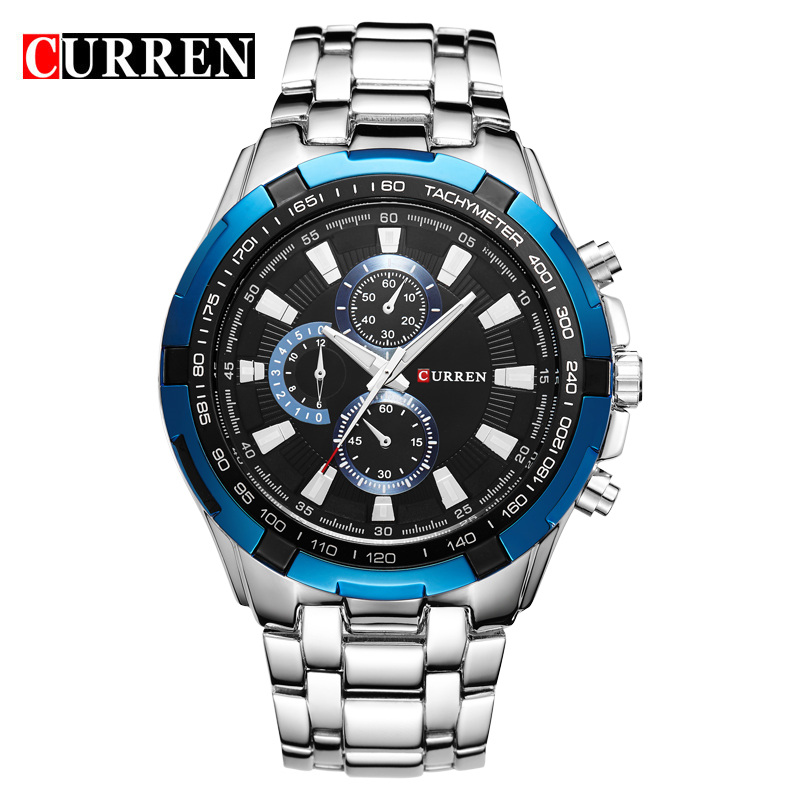Curren full steel quartz watches Men's Business Quartz-watch Casual Dropship Blue Military Sports Relogio Masculino clock male