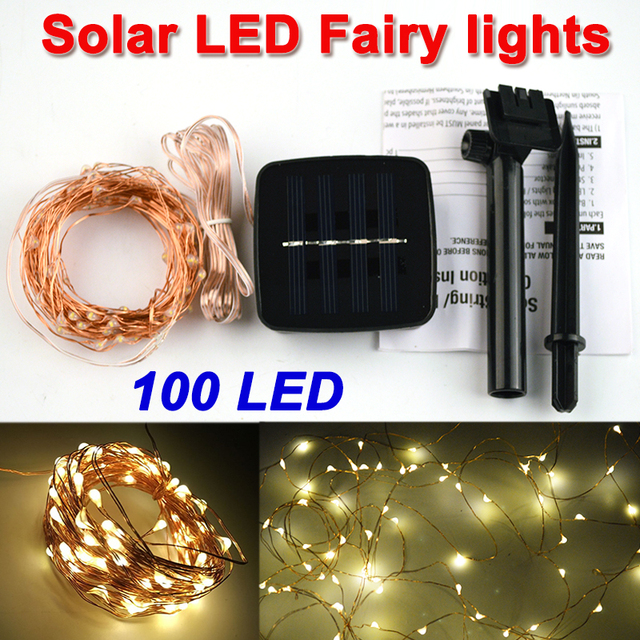 10M 100 LED Solar Lamps Copper Wire LED String Fairy Lights Bubble ball Garland Christmas  for garden party Decoration Outdoor