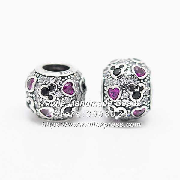 Fashion S925 Sterling Silver Beads Sparkling Mickey & Hearts CZ Charms Fit European DIY Bracelets Necklace Jewelry Making S019