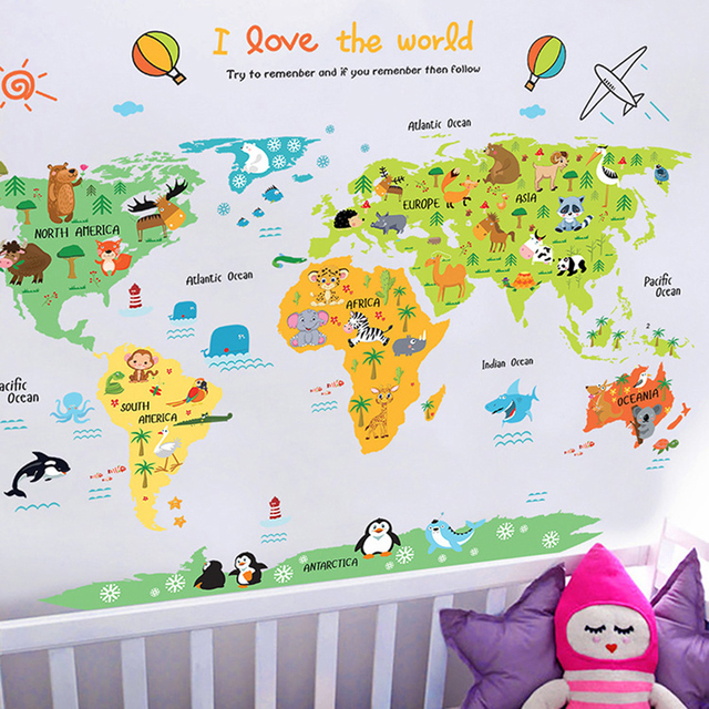 New Cartoon Colorful Animal World Map Wall Stickers For Kids Rooms Wall  Paper Viny Wall Stickers Removable Home Decor Wallpaper