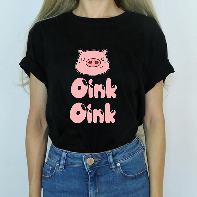 Pink Pig Printing Camisetas 2019 New Funny Vogue Cartoon Kawaii   T     Shirt   Harajuku Women Gothic Tops Streetwear Casual dames   shirt